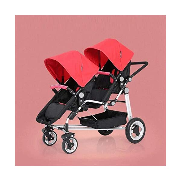 ZhiGe Pushchair Twin Baby Stroller can be Turned to Trolley Baby Trolley 84 * 64 * 105cm ZhiGe Light city stroller Ideal for a daily life with bus or train Compact folding size 1
