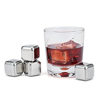 Skymore Whiskey Stones, Reusable Stainless Steel Ice Cubes, Chilling Rock Stone for Whiskey, Vodka, Wine, Beer, Beverage and All Drinks, 4PC/8PC 4PC(Without tweezers)