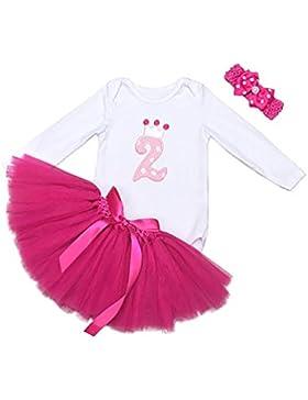 Mainaisi Baby Mädchen 1. Geburtstag Kleidung Set 3 Stück Romper + Rock Tütü + Stirnband Geschenk Verkleidung,...