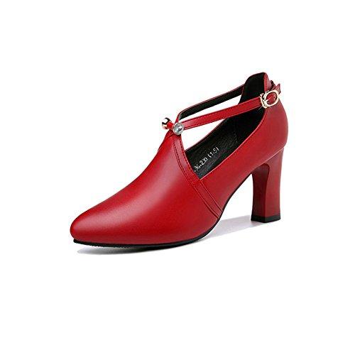 CAI Damenschuhe PU Frühling Herbst Die Neue Spitze High Heels Schuhe Hochzeit Schuhe Damen Schuhe Rot Brautschuhe Comfort Heels High Heel (Farbe : Rot, Größe : 38)