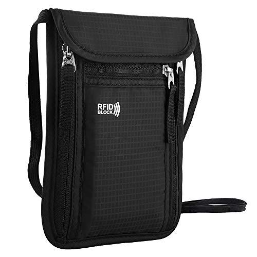 KEAFOLS Brustbeutel Brusttasche Reisegeldbeutel mit RFID-Schutz wasserdicht Umhängebeutel Tasche maximale Sicherheit für Smartphone und Reise Dokumente MEHRWEG - Kreditkarte Beutel