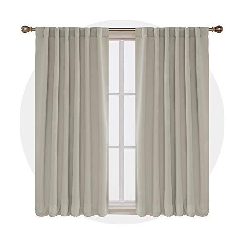 Deconovo tende oscuranti termiche isolanti con passanti per soggiorno 140x290cm beige chiaro 2 pannelli