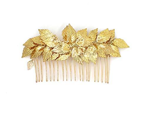 Göttin Blattgold Tiara Kamm - Bridal Hochzeit Haar Clip Haarband Mum Stirnband Kämme Griechisch Zubehör (Goldene Göttin Erwachsenen Kostüme)