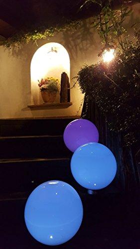 2 x LED Solarleuchte MARA 20+30 Gartenleuchte Kugelleuchte mit Erdspieß Bodenleuchte Kugelset Durchmesser 20 + 30cm Dekoration wahlweise umschaltbar zwischen LED kaltweiß und farbwechselnd