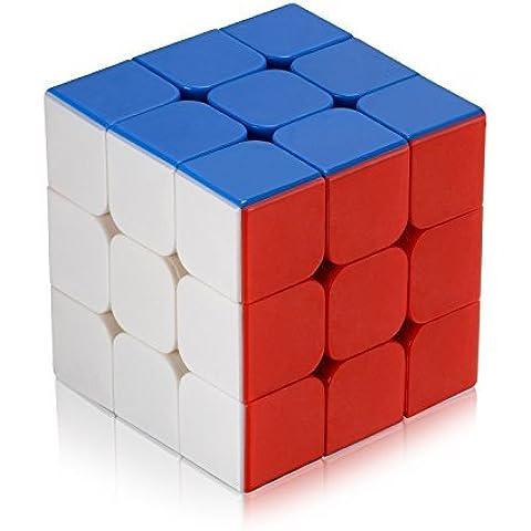 Newisland Cubo de Rubik 3x3 de velocidad; juego de Puzzle plástico Ecológico, Colores Super durables y vívidos Stickerless Cubo