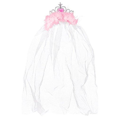 JGA Krone mit Schleier - Braut-Kopfschmuck für den Junggesellenabschied (Rosa)