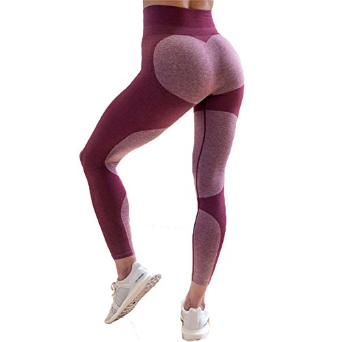 Frauen Leggins Sport Yoga Leggings - Damen Sporthose Laufhose Stretch Trainingshose Workout Patchwork Hose Skinny Fitnesshose Jogginghose Mode Strumpfhosen Lila S Meedot (Trainingshose Fleece-print)