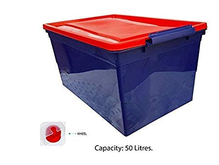 Nilkamal Plastic Stackable Storage Box with Wheels, 50 L,