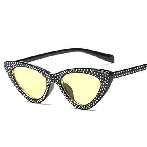 ZHAS High-End-Brille Damen Sonnenbrille Strass Sonnenbrille Damen Shades Eyewear Uv400 Damen Sonnenbrille Personalisierte High-End-Sonnenbrille GELB