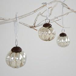 Fair Trade Palline di Natale di vetro (x3) - piccolo