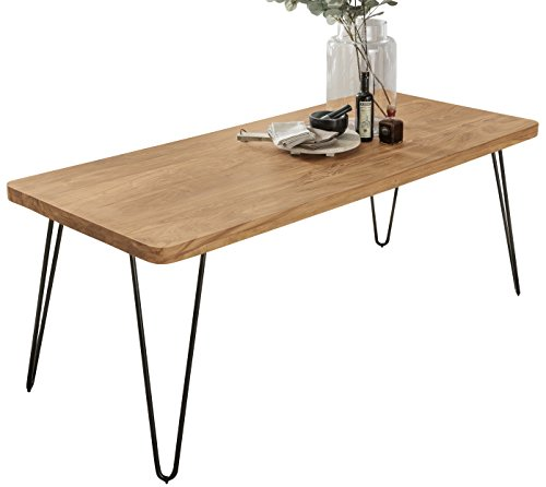 FineBuy Esstisch BAGLI Massivholz Akazie 160 x 80 x 76 cm Esszimmer-Tisch Küchentisch modern Landhaus-Stil Holztisch mit Metallbeinen dunkel-braun Natur-Produkt Massivholzmöbel Echt-Holz unbehandelt