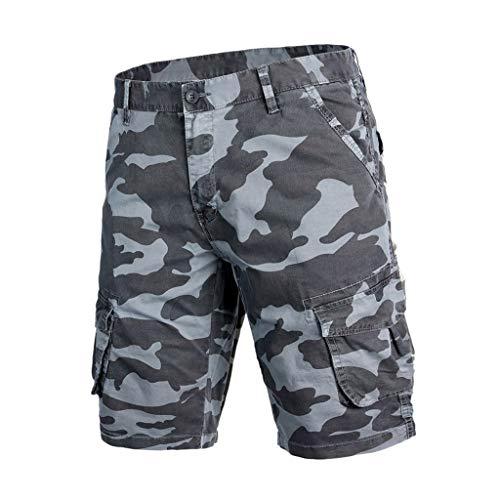 Cargo Shorts Herren Chino Kurze Hose Sommer Bermuda Sport Jogging Training Stretch Shorts Fitness Vintage Regular Fit Sweatpants Baumwolle Qmber Camouflage Mehreren Taschen ArmeeGrün Grau(Gray1,30) -