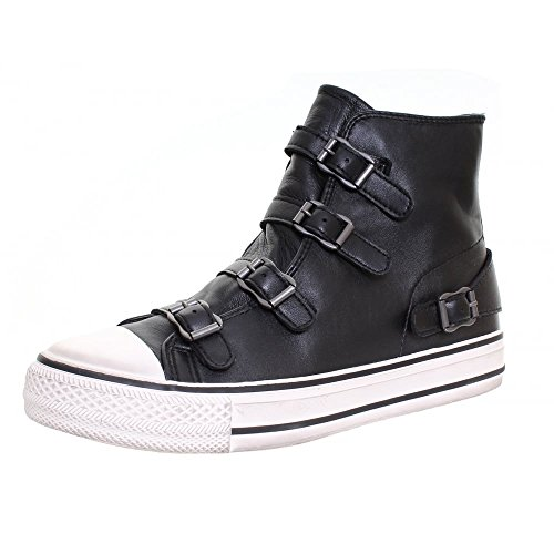 Ash Footwear Virgin Black Leather Buckle Trainer 39EU/6UK Black