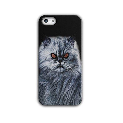 Wellcoda Wütend Katze Böse Auge Tier Hülle für iPhone 5 / 5S Kätzchen Rutschfeste Hülle - Slim Fit, komfortabler Griff, Schutzhülle