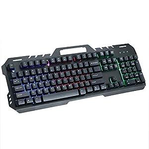 WXGZS Gaming-Tastatur, Mechanisches Metall Gefühl Tastatur 19 Tasten Mit Regenbogen-Hintergrundbeleuchtung USB-Kabel Spiel Tastatur Für Gamer