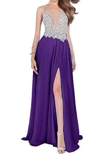Sunvary Sexy Rueckfrei Neu Damen Stein Abendkleider Lang Ballkleider Promkleider Schlitz Chiffon Violett