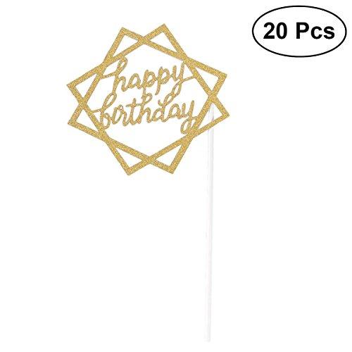 BESTOYARD 20 stücke Glitter Papier Kuchen Einsteckkarte Kuchen Cupcake Toppers Dekoration Geburtstag Hochzeit Halloween Party Favors Liefert mit Papier Stick und Dispensing Kleber-SR050 (Gold)