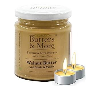Butters & More Vegan Walnut Butter with Natural Vanilla Extract & Natural Stevia Extract (200G). Keto & Diabetic Friendly Nut Butter. with a Surprise Diwali Gift!