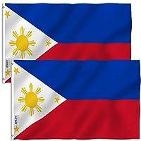 علم Anley Fly Breeze 3x5 قدم الفلبين - ألوان زاهية ومقاومة للبهتان - رأس قماش وخياطة مزدوجة - أعلام وطنية فلبينية من البوليستر مع حلقات نحاسية 3 × 5 أقدام (2 حزمة)