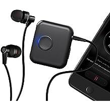 Recibidor portátil de audio Bluetooth Mini Soundshare por EC Technology, especial para compartir música de manera inalámbrica mediante Bluetooth 4.1 con tecnología apt-X de baja latencia. 3.5mm Recibidor de audio con micrófono incorporado y clip para audífonos alámbricos, altavoces de auto y sistema estéreo de casa.