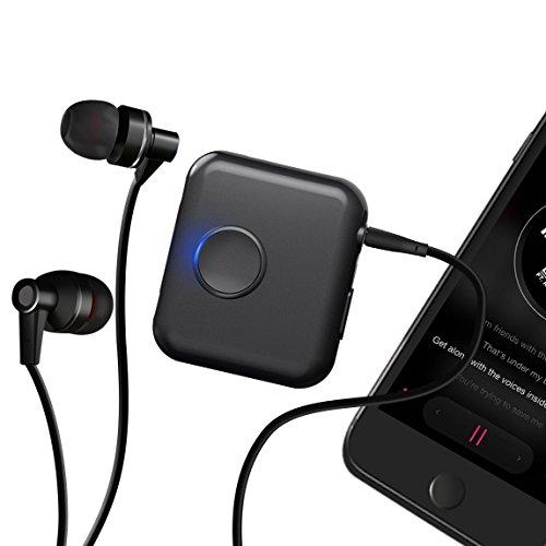 Music Share Bluetooth 4.1 Empfänger EC Technology Sound Share Portable Drahtloses aptX und 3.5mm Audio-Stereoempfänger Eingebautes Mikrofon und Clip für kabelgebundene Kopfhörer Auto Heimstereosysteme