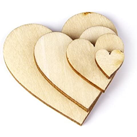 100pz Carte Legno 10-40mm Cuore Abbellimenti Craft Scapbooking Decorazione