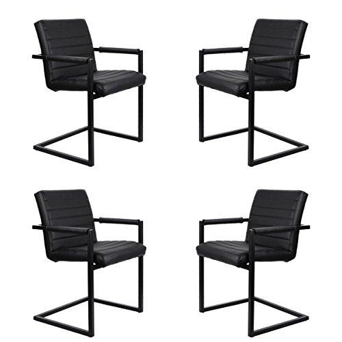 Feel Furniture -CONFERENCE stuhl - Schwarz- 4 Stück - Schlankem Industriedesign mit hochwertigen Materialien: Büffelleder und Stahl. Elegantes...