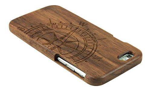 eimo iPhone 6 Plus 5.5'' Case Manuel Bois Protective Hard Back Case Cover pour Apple iPhone 6 plus 5.5''(tigre) noyer-boussole