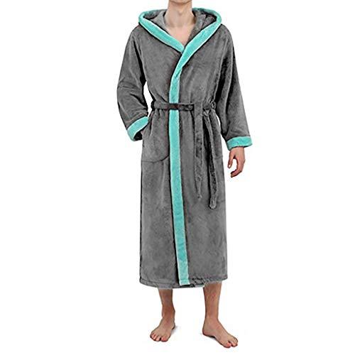 SEWORLD Bademantel Unterwäsche Frauen Lange Reizvolle Kimono Morgenmantel Babydoll Winter HoodedLangered Langarm Plüsch Schal Bademantel Slee(Dunkelgrau,EU-40/CN-XL) (Plüsch-kimono)