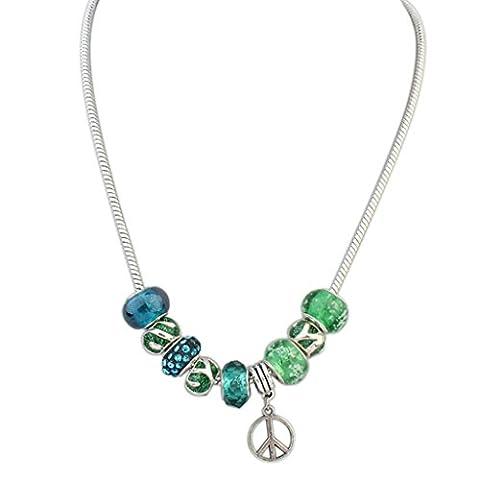 AMDXD Bijoux Plaqué or femmes ras du cou Colliers rétro Vert Perles Pendentif Peace Mark, Meilleur Cadeau pour elle