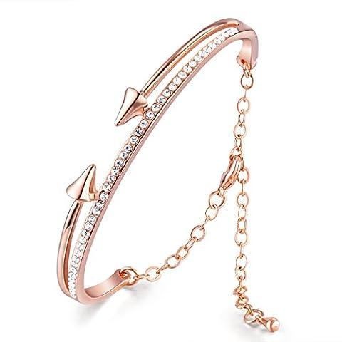 SWEETIEE - Bracelet Femme Simple ornement Arche et Deux Fleches Faces Chic Plaque Or 18k,un tour micro Pave AAA Zircon scintillant,Or rose,cadeau ideal pour