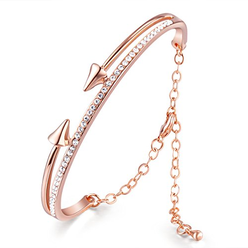 SHEGRACE Damen Armband chic 18 k vergoldeten Messingarmband Mikro pflastern AAA Zircon Bogen und Pfeile, Rose Gold, 185 mm