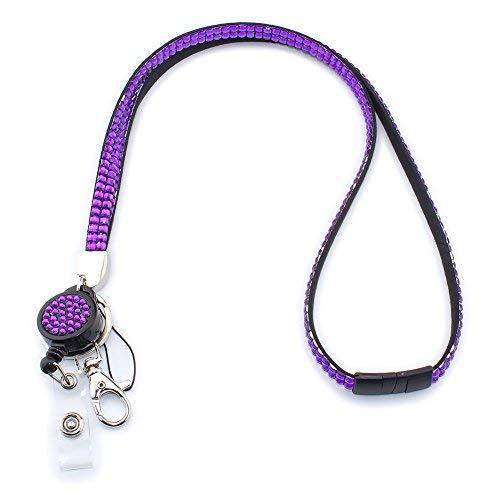 Soleebee 80cm Bling Strass Leder Schlüsselband Umhängeband Lanyard mit JoJo ID Badge Holder mit Karabinerhaken Schlüsselring versenkbarem Abzeichenhalter Schlüsselanhänger (Lila)