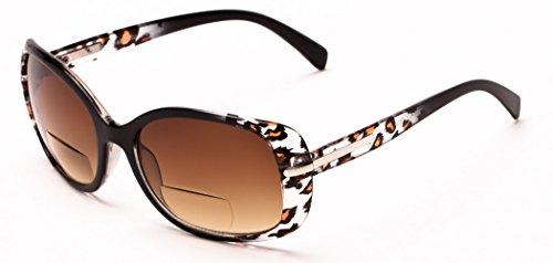 +1.50 Sonnen Lesebrille Schawrz Leopard Sonnenbrille Bifokal 100% UV-Schutz Getönte Gläser Damen Zeitlos Fall & Stoff