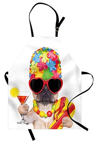 Verrückte Schürze, tropische Urlaub unter dem Motto Hund Flip Flops Sonnenbrillen und Cocktail exotische Bulldogge Haustier, Unisex Küche Latzschürze mit verstellbarem Hals zum Kochen Backen Gartenarb