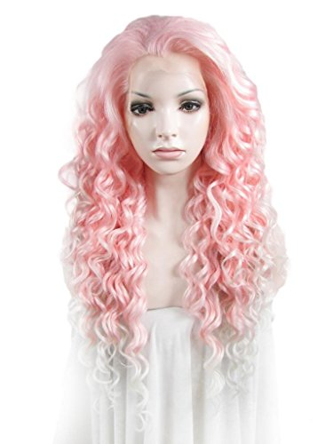 Imstyle Long Afro Kinky Curly Style Cosplay Wig Pink Mix White Color Christmas Party Sweet Synthetic Lace Front Wigs by (White Kostüm Party Für Christmas)
