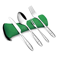 Cutlery Set Camping Stainless Steel, Leedia Cutlery Tableware Portable with Stars Design Picnic Dinnerware Traveling Working Lunch Set of Knife, Fork, Spoon and Spades Snail with Bag Green