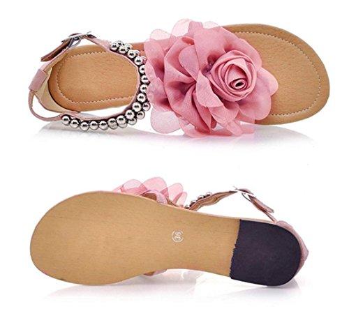Minetom Donne Scarpe Casual Infradito Piatte Con Fiori Sandali Boemi D'Estate Scarpe Pink