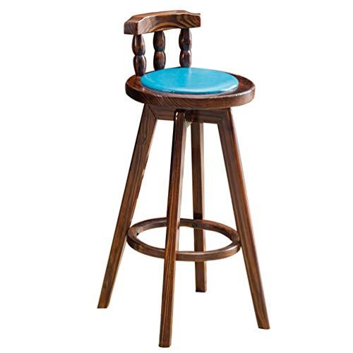 BARSTOOLS Home Barhocker Leder Kuhfell Barhocker Holz Barhocker RotaryContinental Hocker Retro American Barhocker Cafe Barhocker RestaurantSwivel Chair (Color : D)