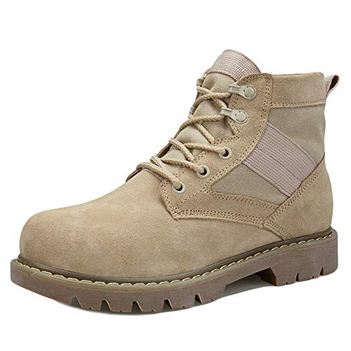 JINGRONG Arbeit Utility Schuhe Wüstenkampfstiefel Herren Militärstiefel Camping Wanderschuhe Outdoor Schuhe Erwachsene Kampfstiefel,Beige1-41
