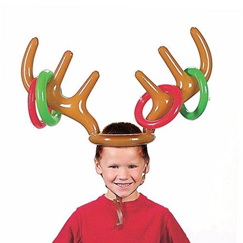 Aufblasbare Rentier Rentiergeweih Hut Ringwurf Spiel Weihnachts Feiertags Party Toss Spiel (2 PC)