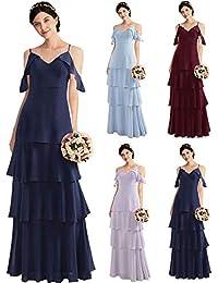 Ever-Pretty Vestido de Fiesta Noche Largos Boda Gasa Dama de Honor con Volantes  para 614b0b78b3ff