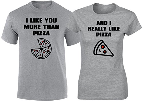 SuperPraise Matching Couples T Shirts Like More Than Pizza His & Her Outfits