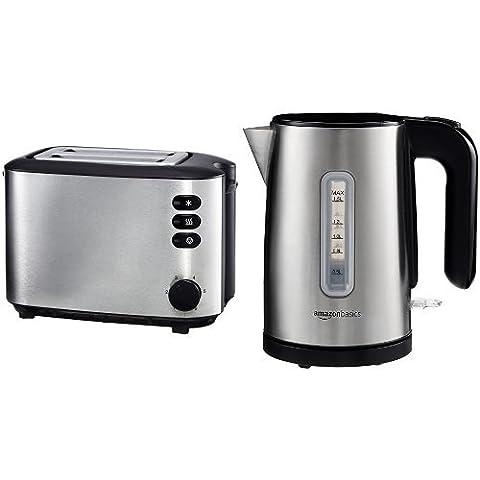 AmazonBasics Frühstücksset: Toaster (850W), Wasserkocher (1,5l), gebürsteter Edelstahl