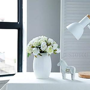 Ramo de rosas artificiales de JUSTOYOU, ramo de flores artificiales de seda para novia, ramo de 12 cabezas para…