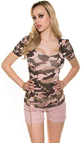 trendy Camouflage T-Shirt * Gr. S M L XL * Damen Military Army Look Militärstil Tarnmuster KouCla kurzarm Rosa