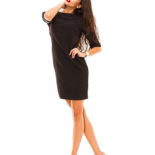 Damen Rundkragen 3/4-Arm Die zurück-Taste Minikleid Sommerkleider  Abendkleider Partykleid Ballkleid