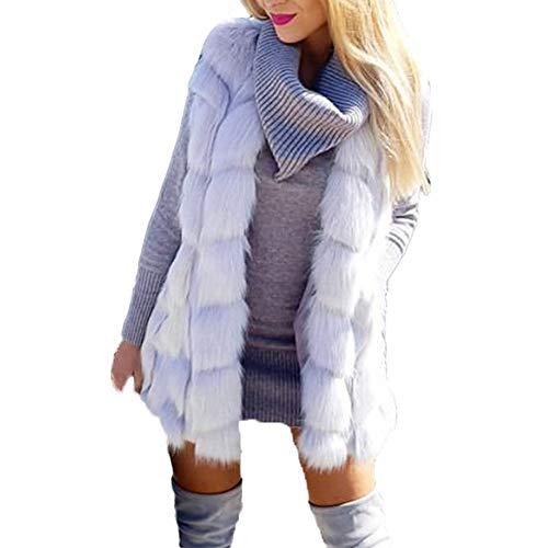 Lazzboy Womens Coat Gilet Jacket Warm Faux Fur Block Fluffy Solid Fashion Outerwear Female Ladies Oversized Plus Size,UK Size 8-18