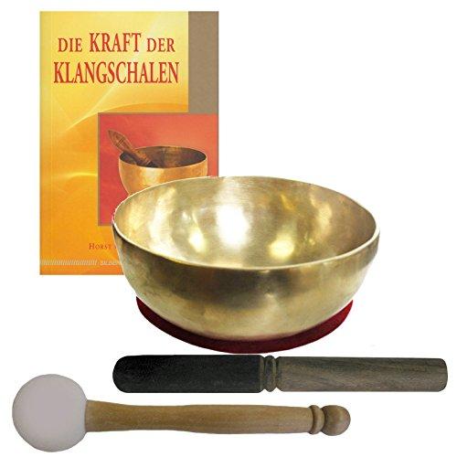 Therapie KLANGSCHALE 600-700g Handarbeit Nepal 5-tlg Klangmassage SET. KLEINE HERZSCHALE + Buch + 2 x Klöppel + ZUBEHÖR. 70218
