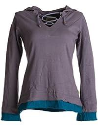 Vishes Alternative Bekleidung – Lagenlook Longsleeve Shirt mit Zipfelkapuze